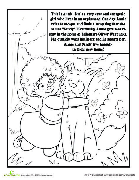 Second Grade Coloring Worksheets: Annie the Musical Coloring Page
