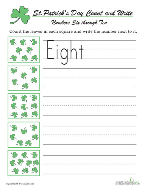 Kindergarten Holidays Worksheets: Count and Write: St Paddy's Day