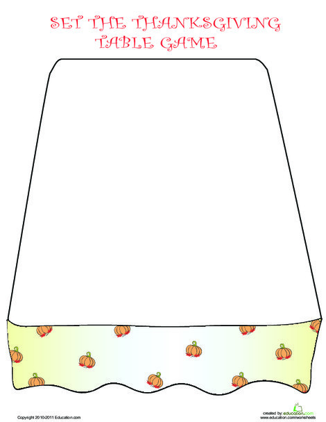 Second Grade Reading & Writing Worksheets: Set the Table: Play the Thanksgiving Dinner Game!