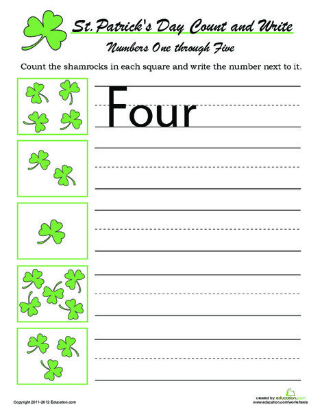 Kindergarten Holidays Worksheets: Count and Write