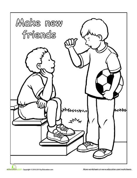 Preschool Coloring Worksheets: Making New Friends