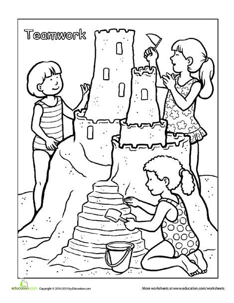 Preschool Coloring Worksheets: Words To Live By: Teamwork