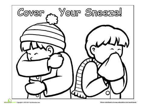Preschool Coloring Worksheets: Manners: Cover Your Sneeze!