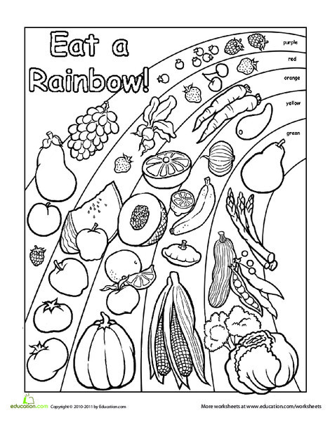 Preschool Coloring Worksheets: Words To Live By: Eat A Rainbow