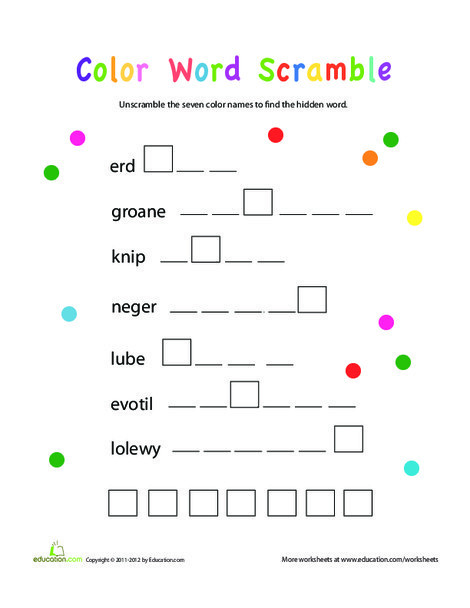 Second Grade Offline games Worksheets: Word Scramble: Colors!