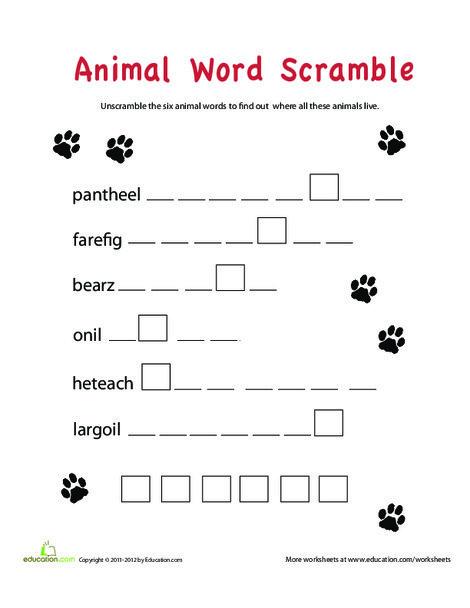 Second Grade Offline games Worksheets: Word Scramble: Animals