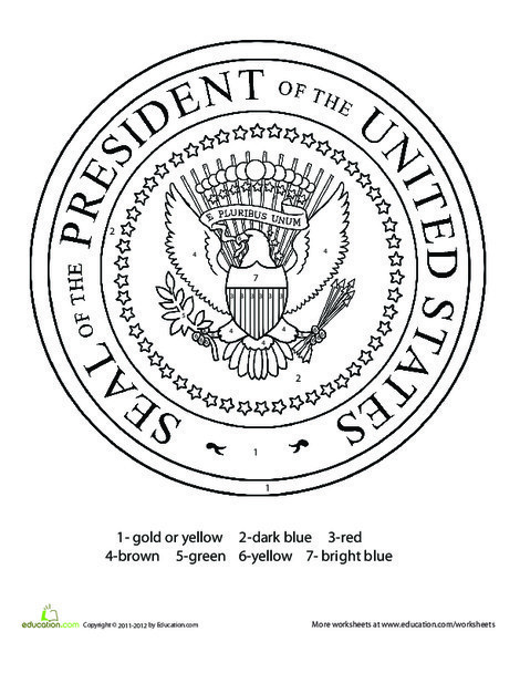 First Grade Holidays Worksheets: Presidential Seal Coloring Page