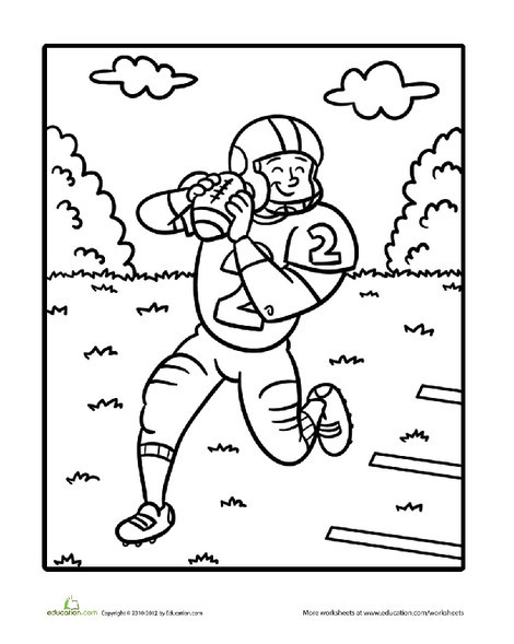 Preschool Coloring Worksheets: Quarterback Coloring Page