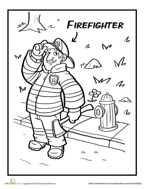 Preschool Coloring Worksheets: Friendly Fireman Coloring Page