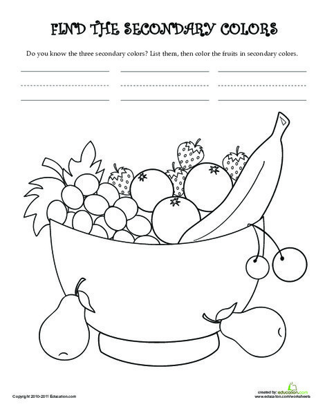 Kindergarten Coloring Worksheets: Learn the Secondary Colors