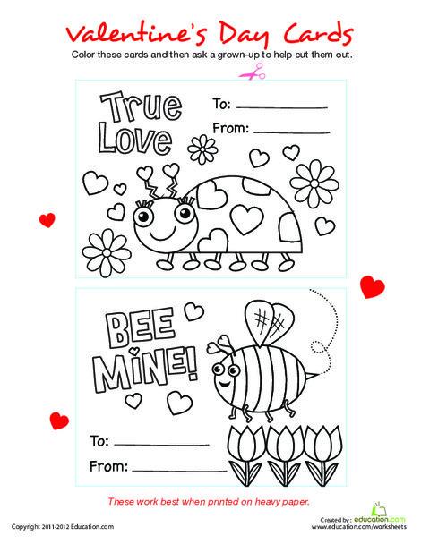 Preschool Holidays Worksheets: Homemade Valentine Cards