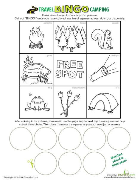 First Grade Offline games Worksheets: Camping Bingo