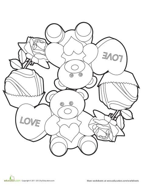 Preschool Holidays Worksheets: Love Mandala