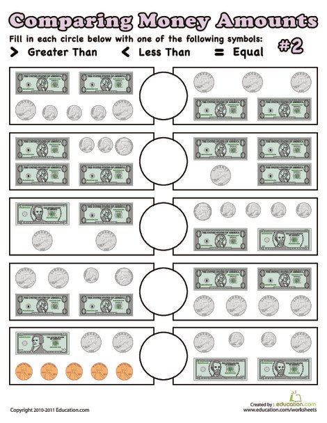First Grade Math Worksheets: Comparing Money Amounts #2