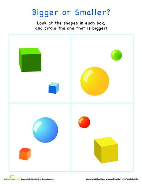 Preschool Math Worksheets: Bigger or Smaller? Shapes