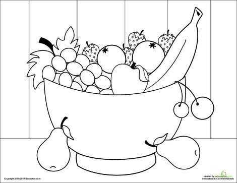 Kindergarten Coloring Worksheets: Fruit Bowl Coloring Page