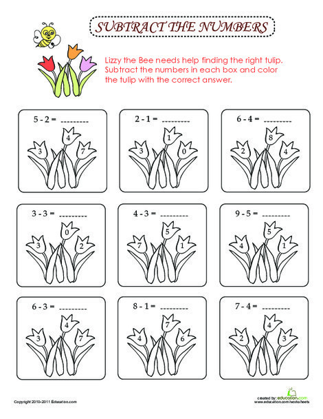 First Grade Math Worksheets: Subtract & Color