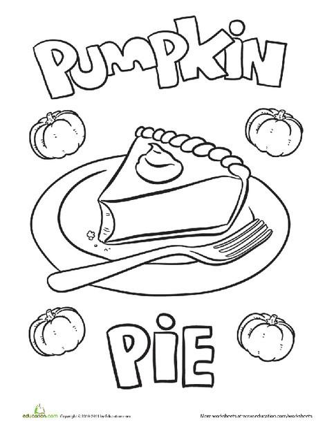 Kindergarten Holidays Worksheets: Pumpkin Pie Coloring Page