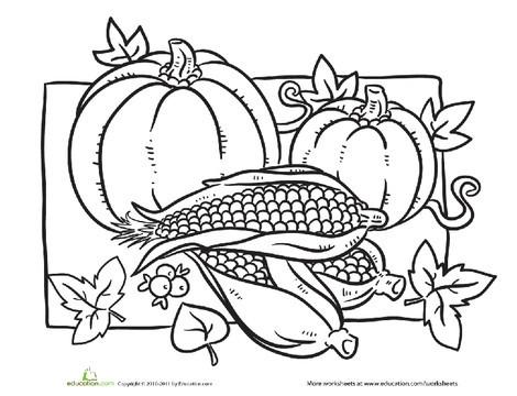 Kindergarten Holidays Worksheets: Color the Thanksgiving Harvest Food