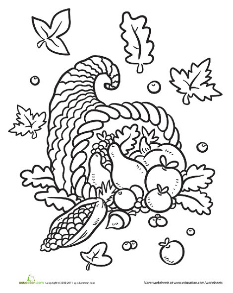 Kindergarten Holidays Worksheets: Cornucopia Coloring Page