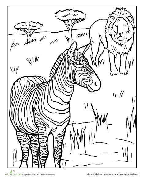 First Grade Coloring Worksheets: African Animals Coloring Page