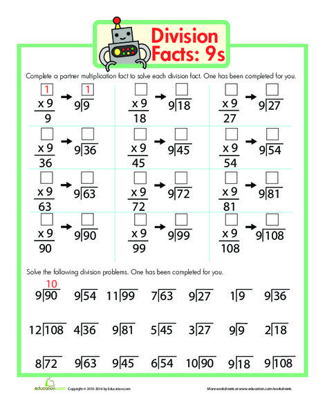 Fourth Grade Math Worksheets: Division Facts