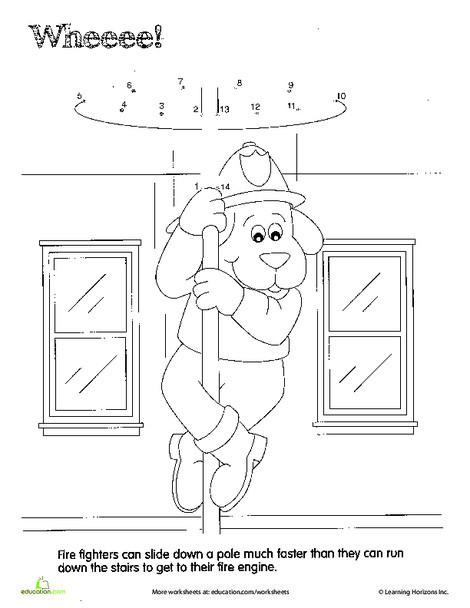 Preschool Math Worksheets: Fireman Dot to Dot: Whee!