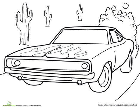 Kindergarten Coloring Worksheets: Dodge Charger Coloring Page