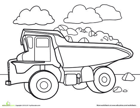 Kindergarten Coloring Worksheets: Color a Car: Dump Truck