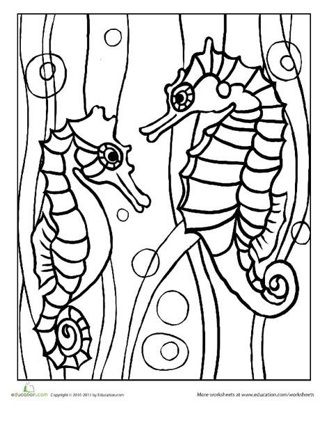 Preschool Coloring Worksheets: Color the Seahorses