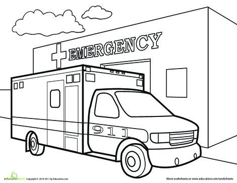 Preschool Coloring Worksheets: EMS Coloring Page