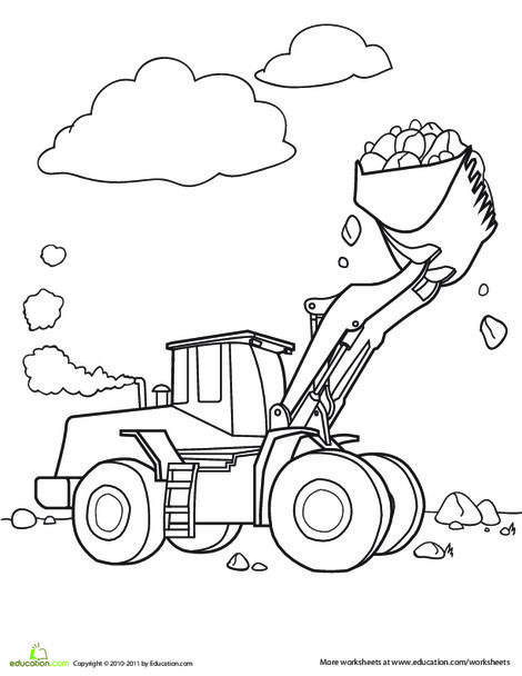 Second Grade Coloring Worksheets: Color the Bulldozer