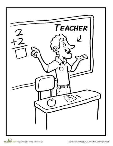 Preschool Coloring Worksheets: Teacher Coloring Page