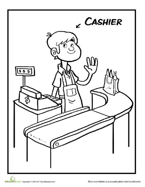 Preschool Coloring Worksheets: Color the Cool Cashier