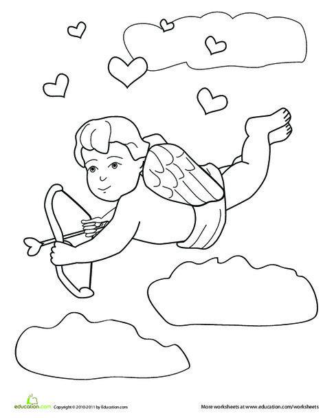 Preschool Holidays Worksheets: Cupid Coloring Page