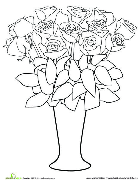 Preschool Holidays Worksheets: Color the Roses in the Vase
