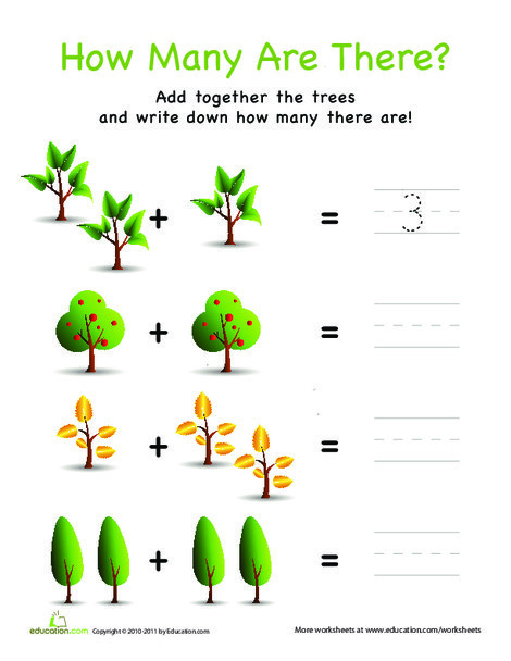 Preschool Math Worksheets: How Many Are There? Trees