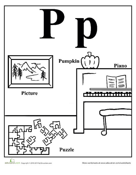 Preschool Reading & Writing Worksheets: Words That Start With P