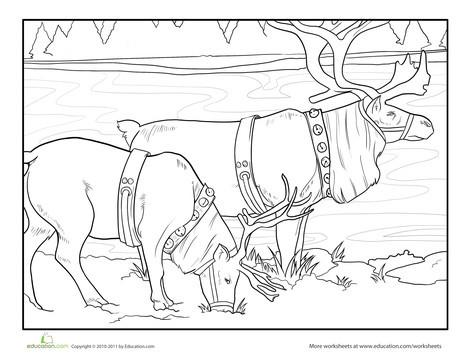 Preschool Holidays Worksheets: Reindeer Coloring Page