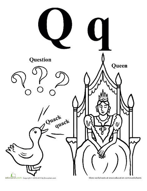 Preschool Reading & Writing Worksheets: Words That Start With Q
