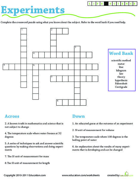 Third Grade Science Worksheets:  Science Experiment Vocabulary: Crossword