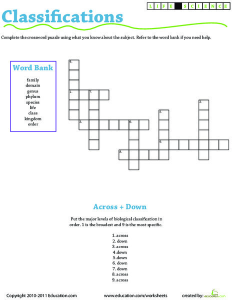 Third Grade Science Worksheets: Life Science Crossword: Classifications
