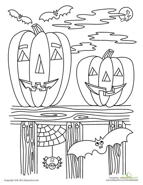 Preschool Holidays Worksheets: Halloween Coloring Page