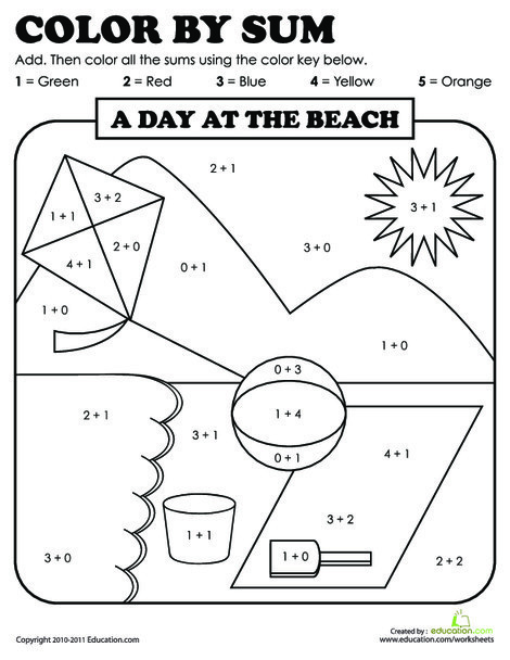 First Grade Math Worksheets: Color by Sum: Beach Day