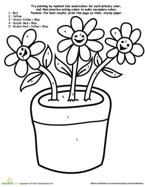 Preschool Math Worksheets: Watercolor Paint by Number: Flowers