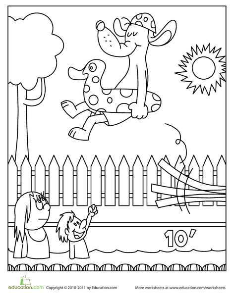 Preschool Coloring Worksheets: Color the Dog in the Pool