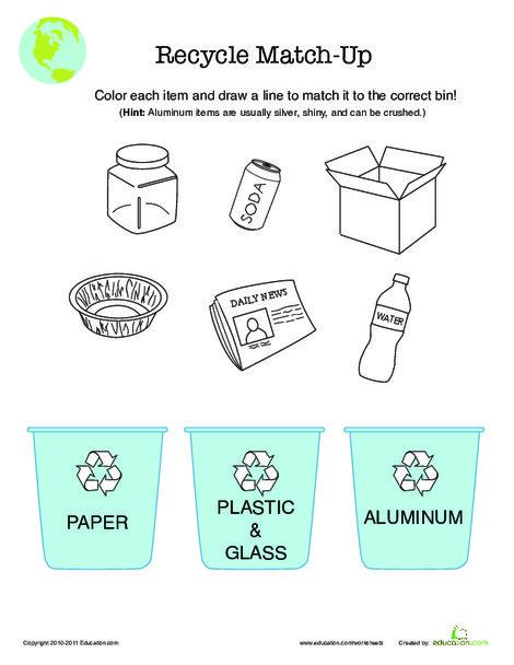First Grade Science Worksheets: Recycle Worksheet
