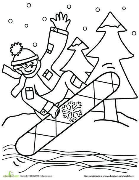 Kindergarten Seasons Worksheets: Snowboarder Coloring Page