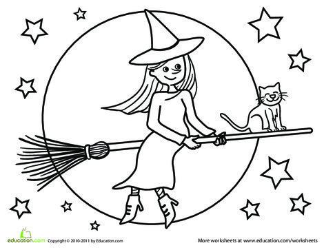 Kindergarten Holidays Worksheets: Color the Flying Witch