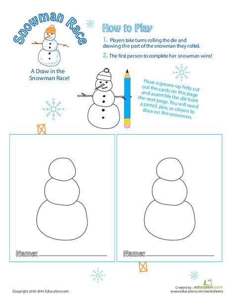 Preschool Offline games Worksheets: Play Snowman Race
